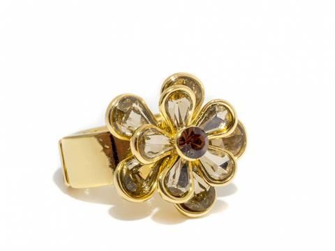 Bilde av 50105 Ring med blomst av stener gullfarget med