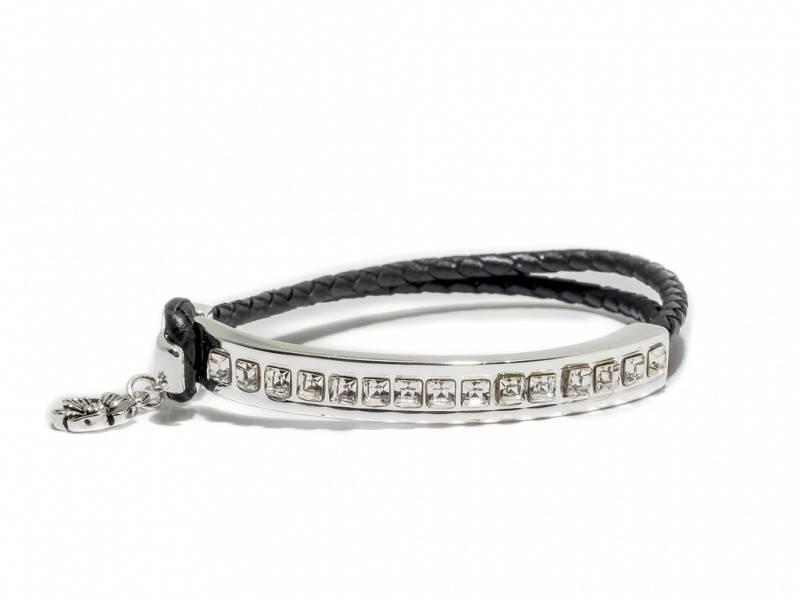 80105 Armbånd med skinn og sølvplate med blanke stener