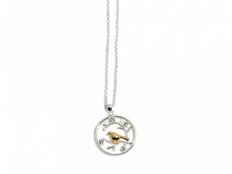 90106 Kort halssmykke sirkel med en fugl sølv og gullfarget