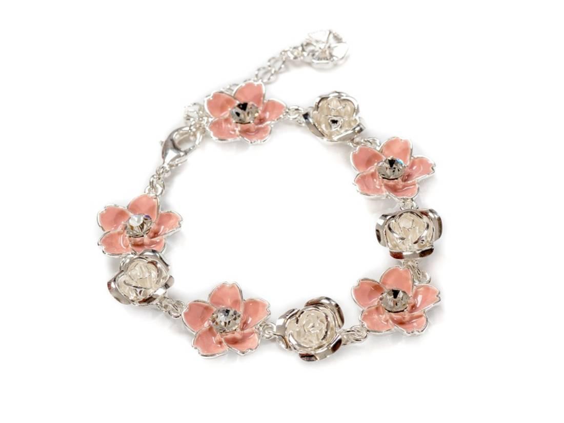 80151 Armbånd med rosa blomster