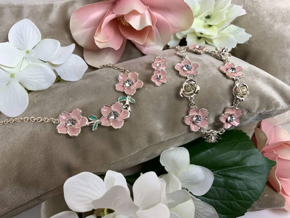 90152 kort smykke rosa blomster