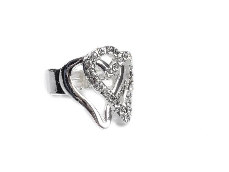 30104 Ring åpne hjerter sølv med stener